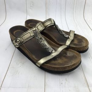 NAOT Gold Strap Sandals Size 41 USA 10